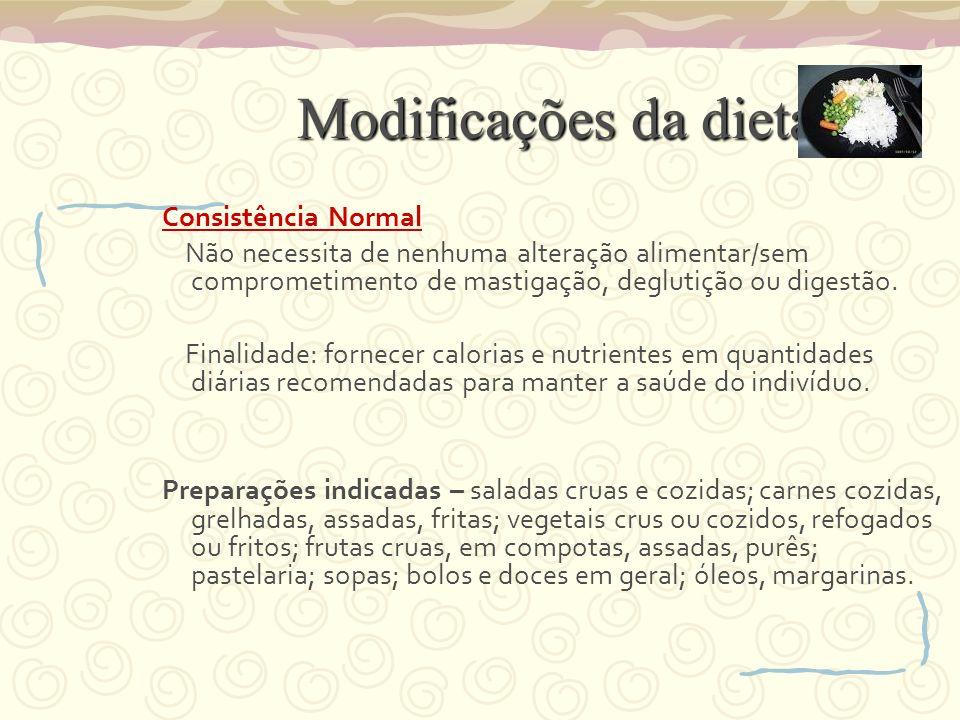 Modificações da dieta Consistência Normal