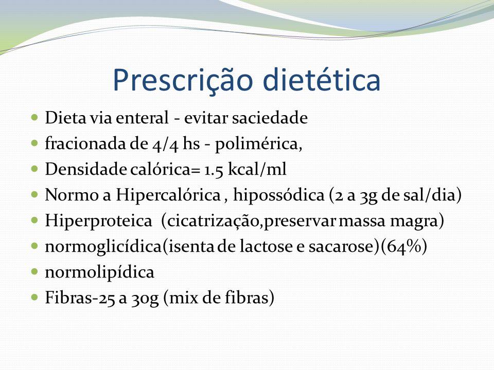 Prescrição dietética Dieta via enteral - evitar saciedade