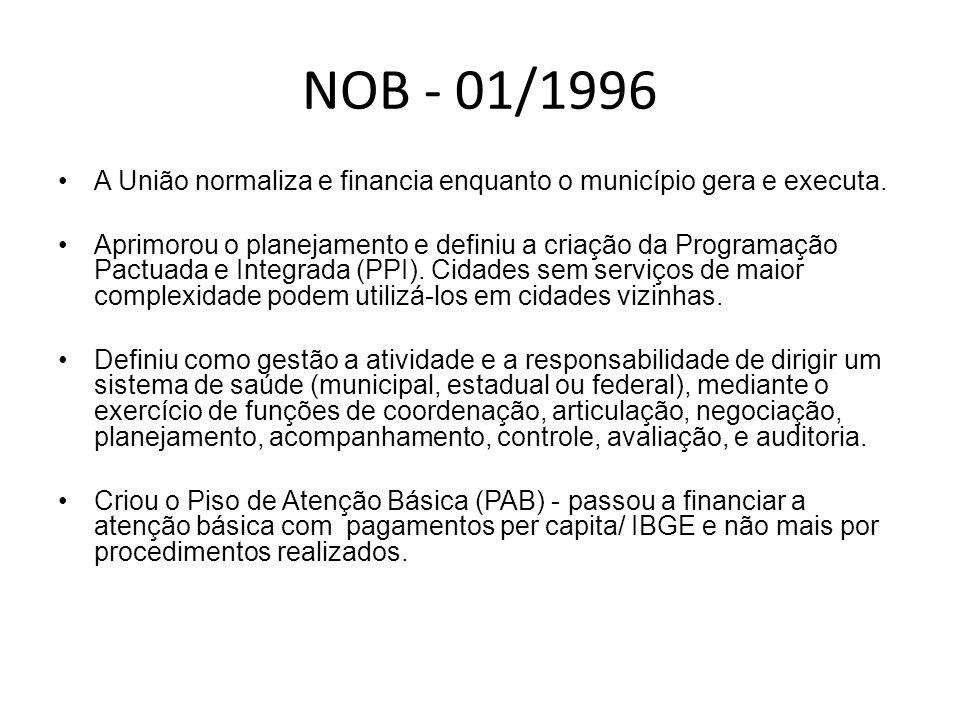 NOB - 01/1996 A União normaliza e financia enquanto o município gera e executa.