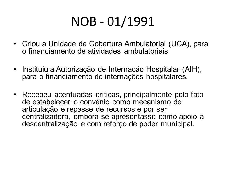NOB - 01/1991 Criou a Unidade de Cobertura Ambulatorial (UCA), para o financiamento de atividades ambulatoriais.