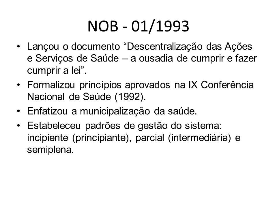 NOB - 01/1993 Lançou o documento Descentralização das Ações e Serviços de Saúde – a ousadia de cumprir e fazer cumprir a lei .