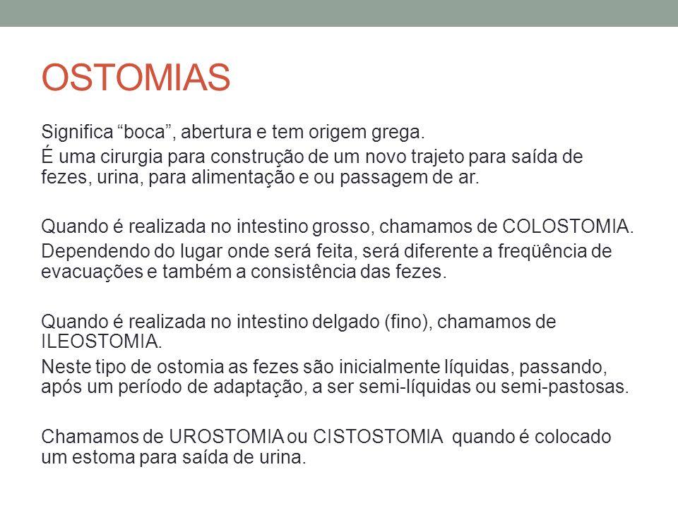 OSTOMIAS Significa boca , abertura e tem origem grega.