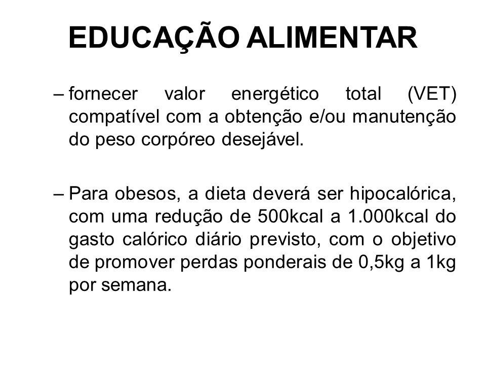 EDUCAÇÃO ALIMENTAR fornecer valor energético total (VET) compatível com a obtenção e/ou manutenção do peso corpóreo desejável.