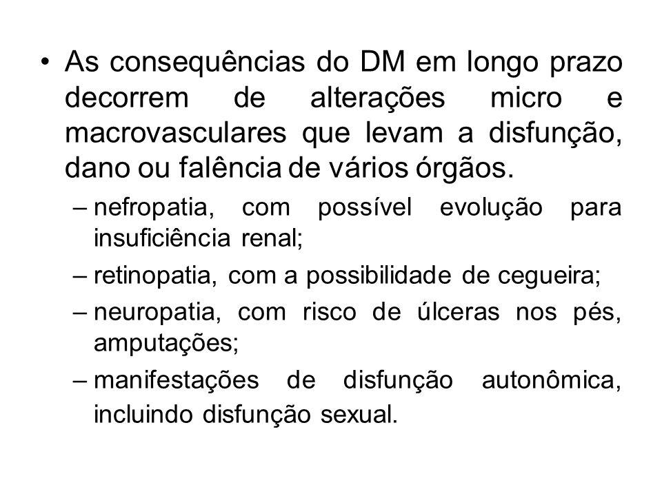 As consequências do DM em longo prazo decorrem de alterações micro e macrovasculares que levam a disfunção, dano ou falência de vários órgãos.
