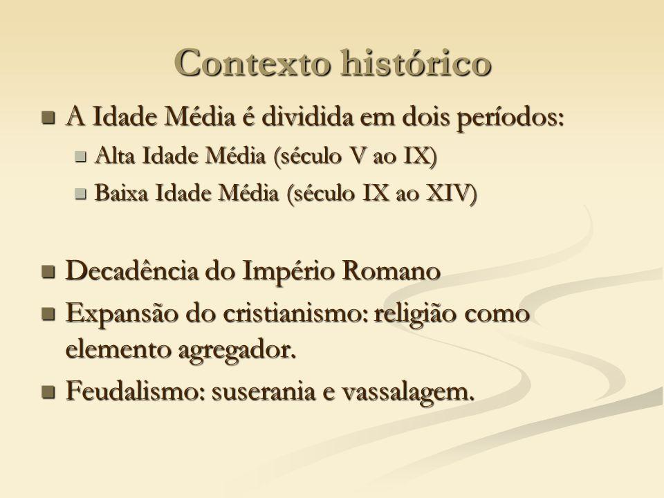 Contexto histórico A Idade Média é dividida em dois períodos:
