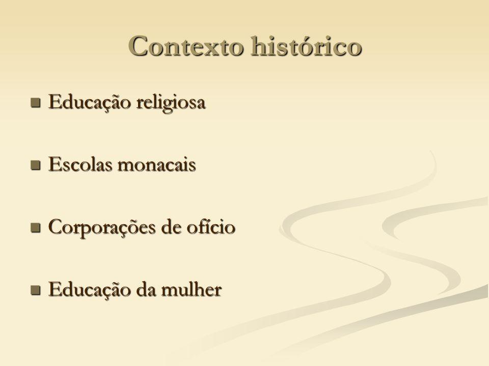 Contexto histórico Educação religiosa Escolas monacais