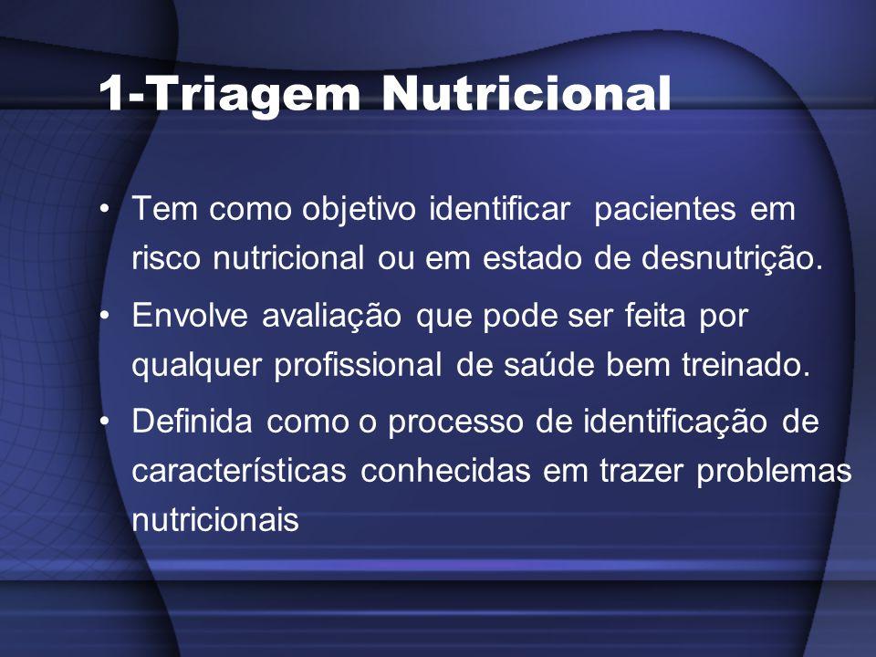 1-Triagem Nutricional Tem como objetivo identificar pacientes em risco nutricional ou em estado de desnutrição.