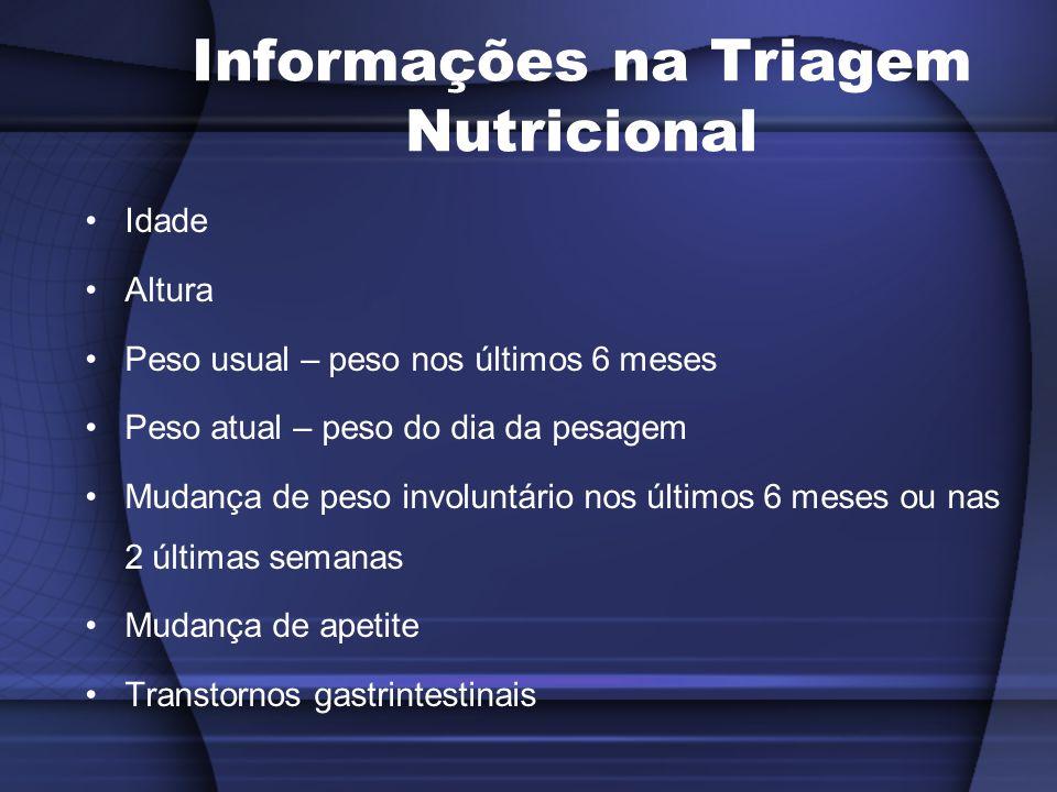 Informações na Triagem Nutricional