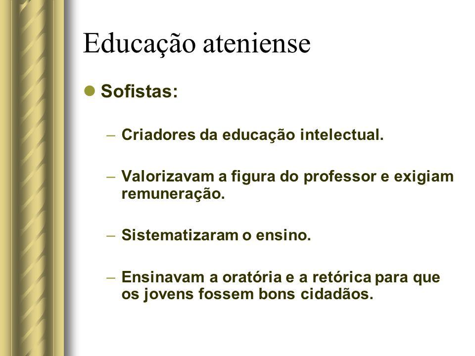 Educação ateniense Sofistas: Criadores da educação intelectual.