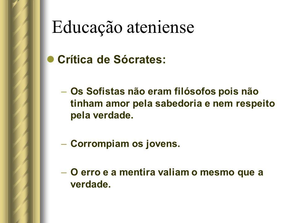 Educação ateniense Crítica de Sócrates: