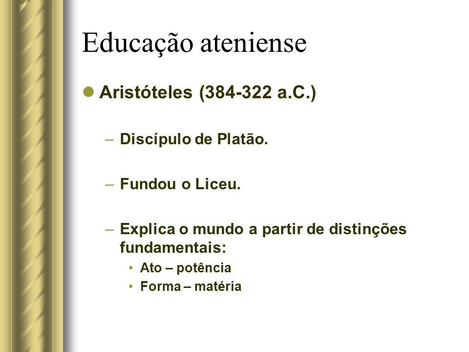 Educação ateniense Aristóteles (384-322 a.C.) Discípulo de Platão.