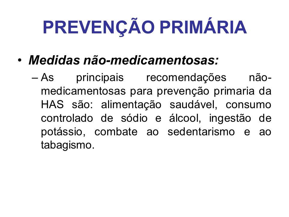 PREVENÇÃO PRIMÁRIA Medidas não-medicamentosas: