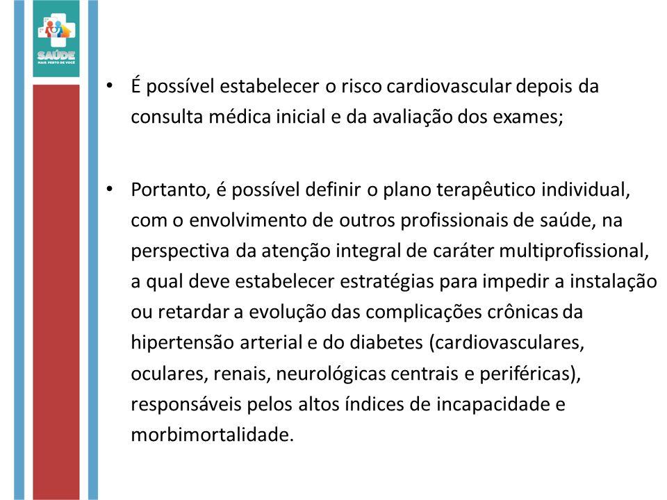 É possível estabelecer o risco cardiovascular depois da consulta médica inicial e da avaliação dos exames;