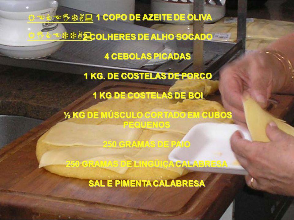 RECEITA: RICETTA: 1 COPO DE AZEITE DE OLIVA 2 COLHERES DE ALHO SOCADO