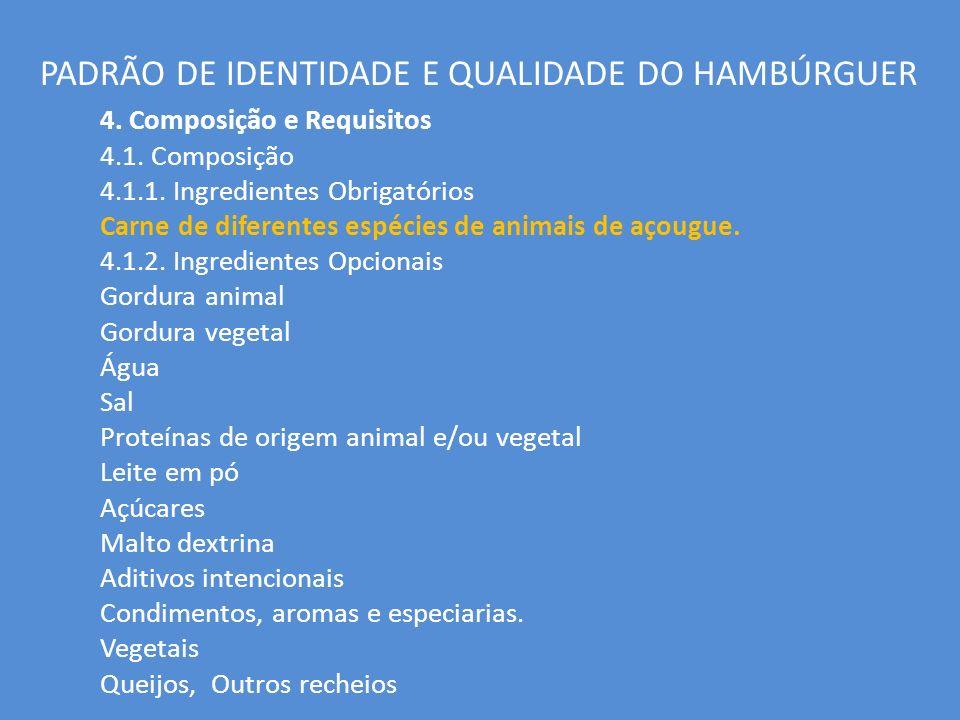PADRÃO DE IDENTIDADE E QUALIDADE DO HAMBÚRGUER