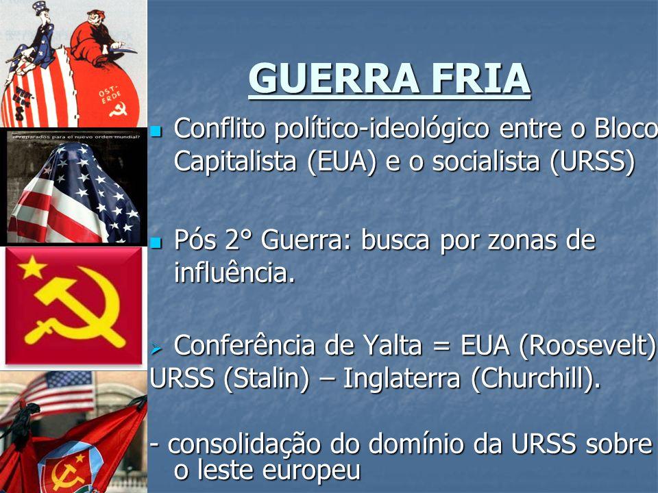 GUERRA FRIA Conflito político-ideológico entre o Bloco Capitalista (EUA) e o socialista (URSS) Pós 2° Guerra: busca por zonas de influência.