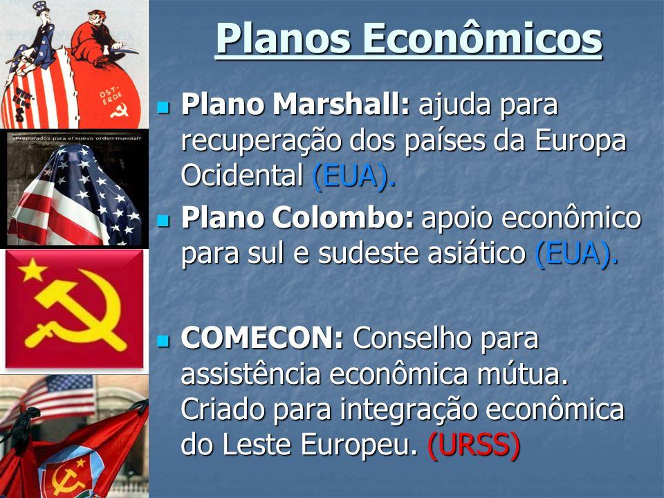 Planos Econômicos Plano Marshall: ajuda para recuperação dos países da Europa Ocidental (EUA).