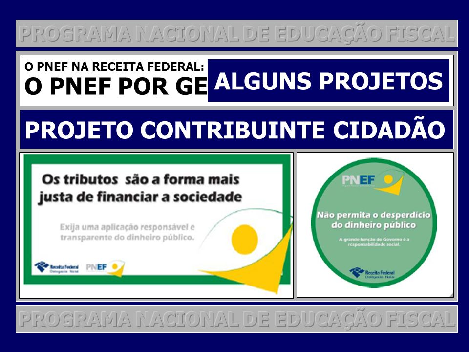 O PNEF POR GESTÃO DE PROJETOS ALGUNS PROJETOS