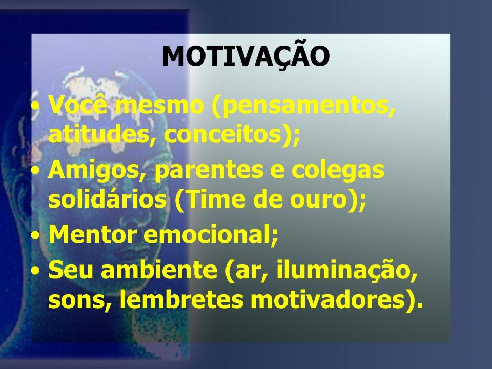 MOTIVAÇÃO Você mesmo (pensamentos, atitudes, conceitos);