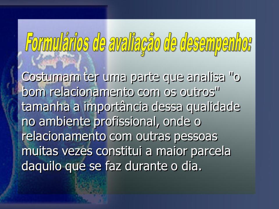 Formulários de avaliação de desempenho: