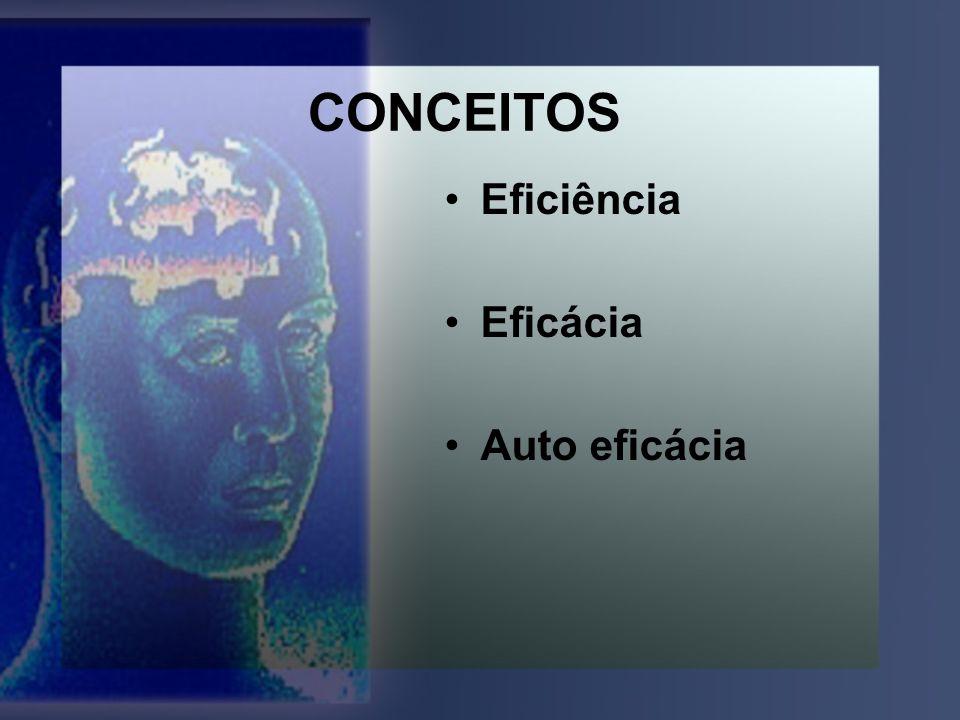 CONCEITOS Eficiência Eficácia Auto eficácia