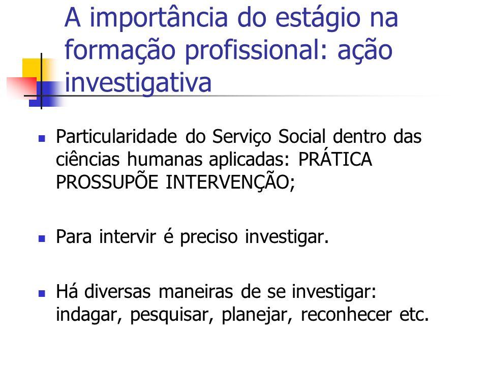 A importância do estágio na formação profissional: ação investigativa