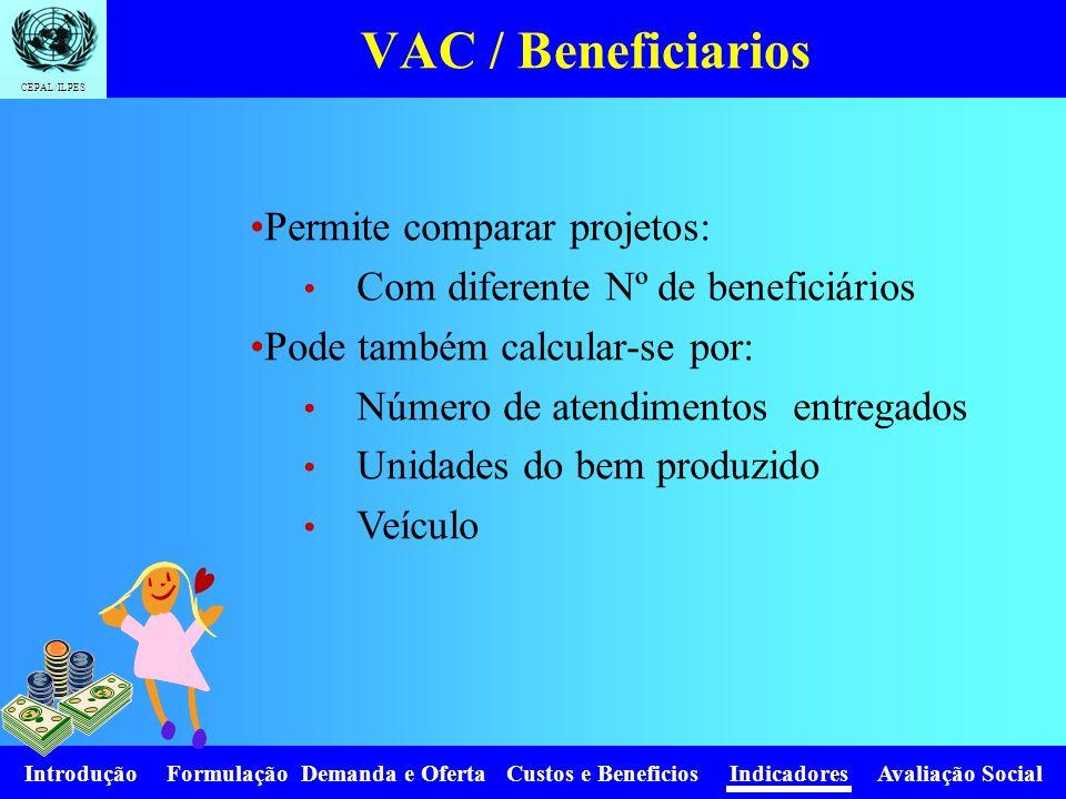 VAC / Beneficiarios Permite comparar projetos: