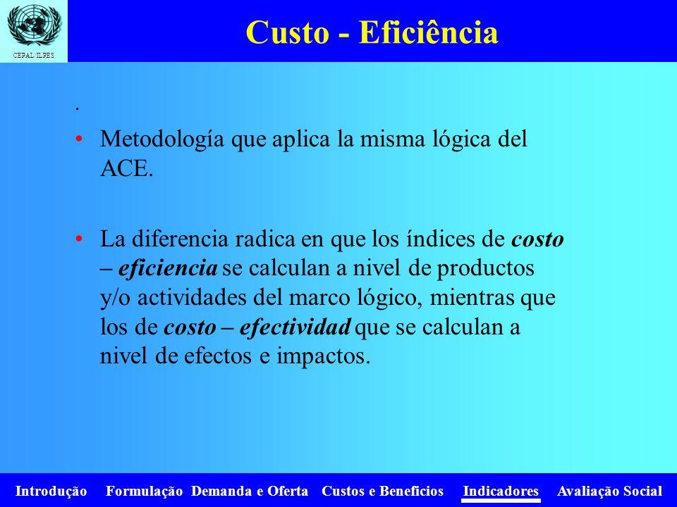 Custo - Eficiência Metodología que aplica la misma lógica del ACE.