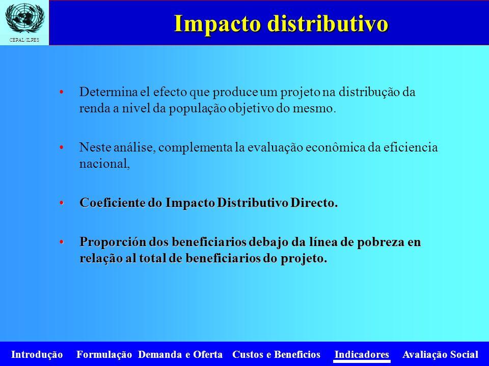 Impacto distributivo Determina el efecto que produce um projeto na distribução da renda a nivel da população objetivo do mesmo.
