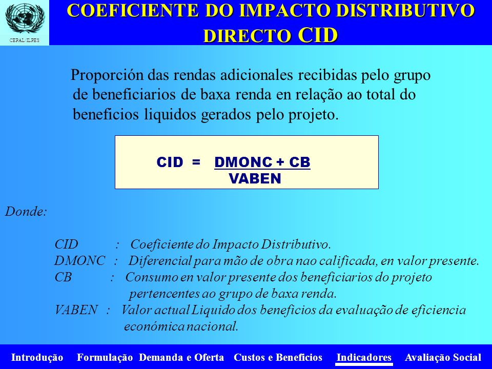 COEFICIENTE DO IMPACTO DISTRIBUTIVO DIRECTO CID