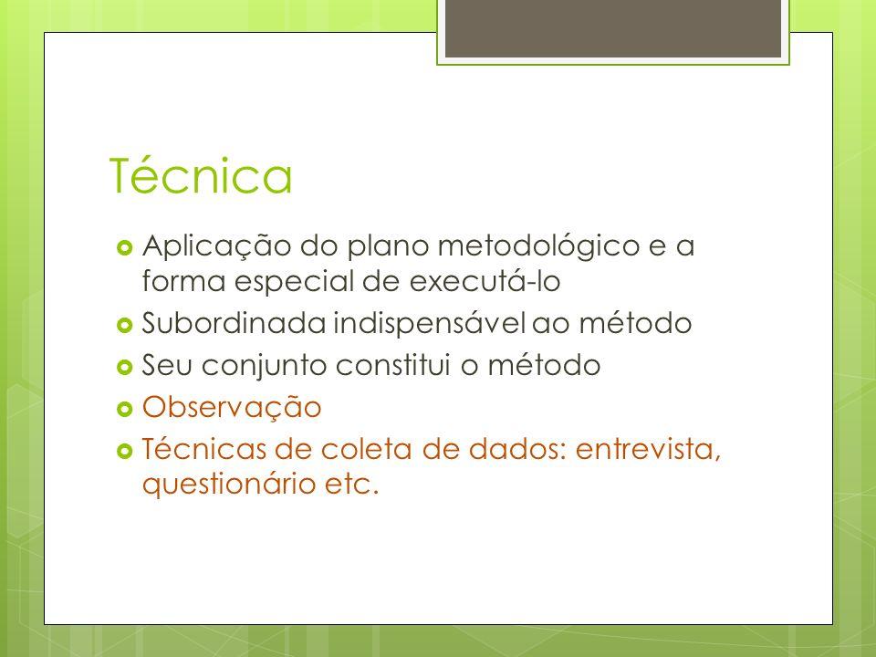 Técnica Aplicação do plano metodológico e a forma especial de executá-lo. Subordinada indispensável ao método.