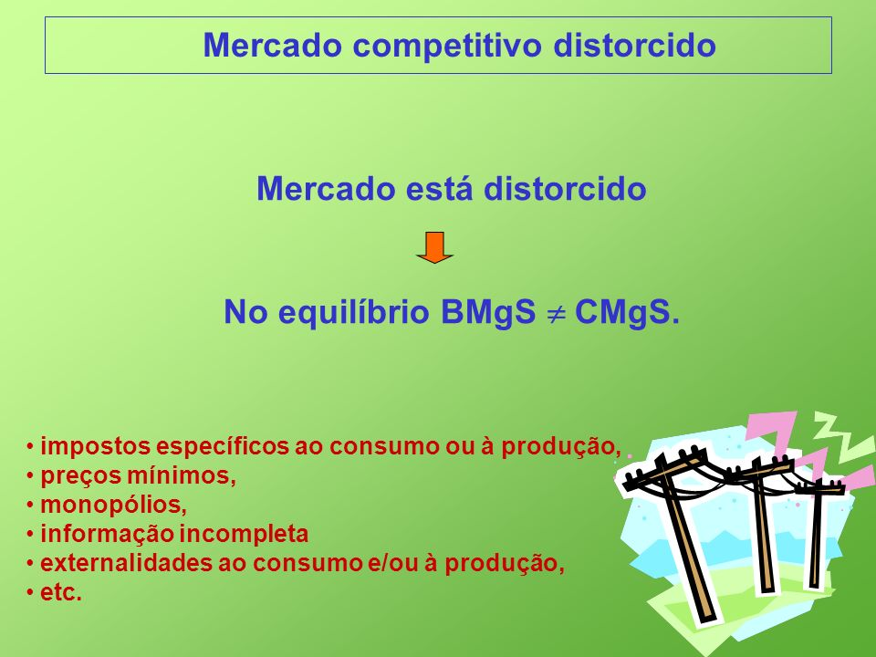Mercado está distorcido No equilíbrio BMgS  CMgS.