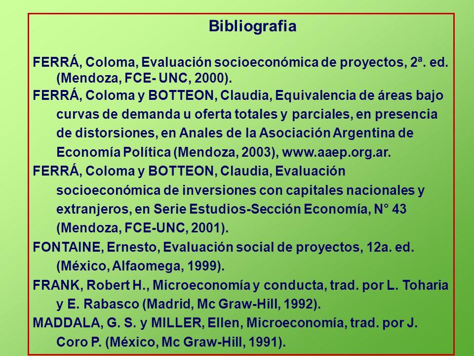 BibliografiaFERRÁ, Coloma, Evaluación socioeconómica de proyectos, 2ª. ed. (Mendoza, FCE- UNC, 2000).