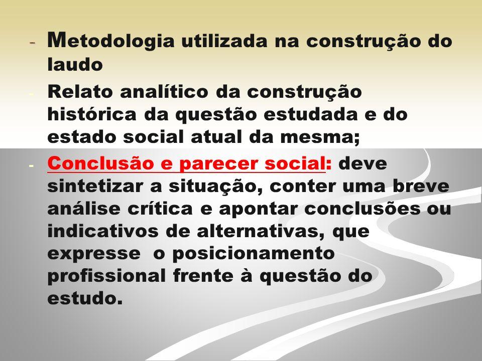- Metodologia utilizada na construção do laudo