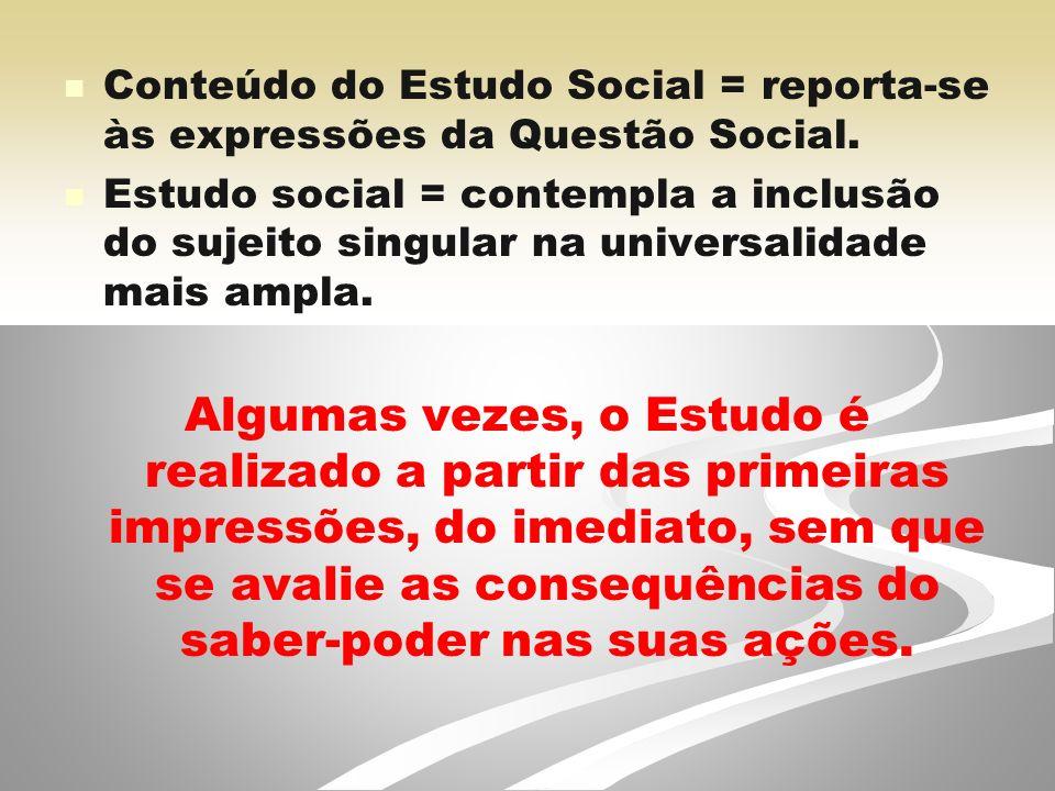 Conteúdo do Estudo Social = reporta-se às expressões da Questão Social.
