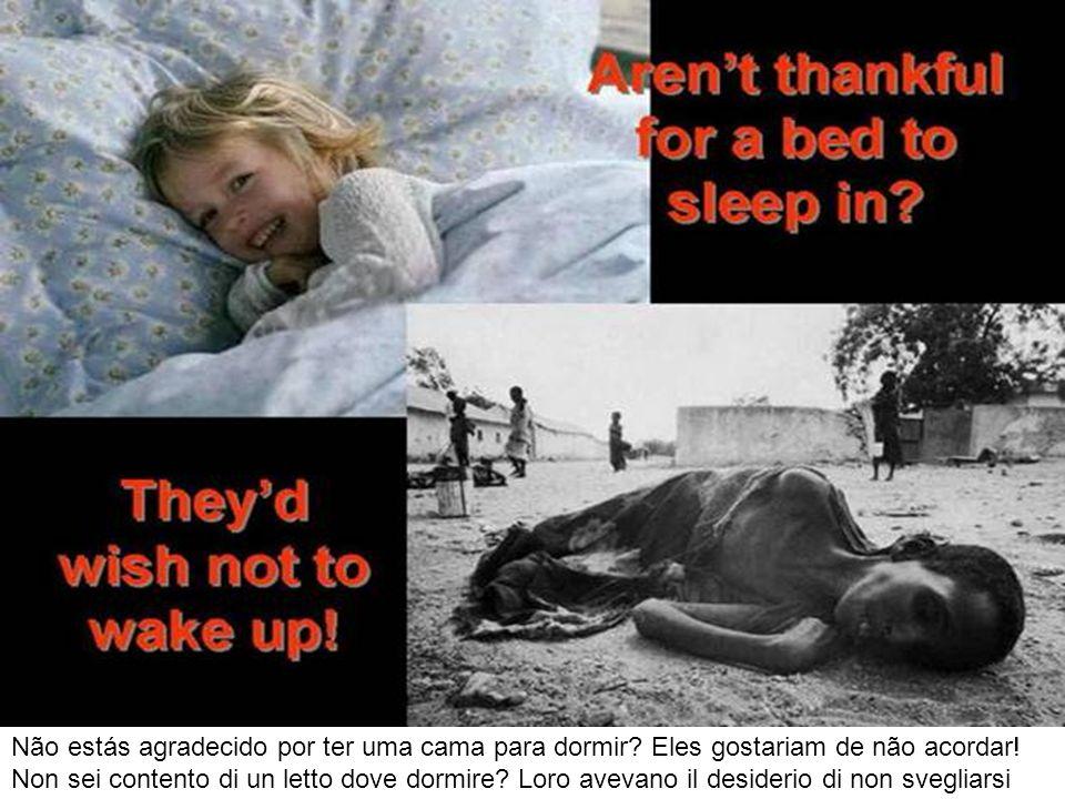 Não estás agradecido por ter uma cama para dormir