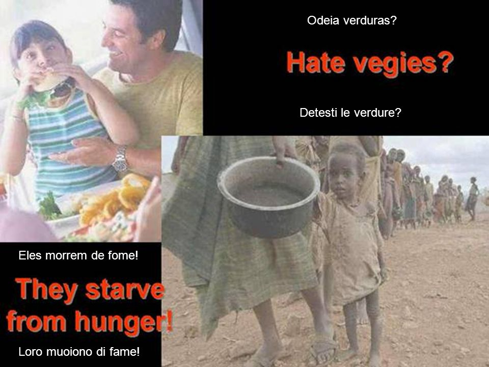 Odeia verduras Detesti le verdure Eles morrem de fome! Loro muoiono di fame!