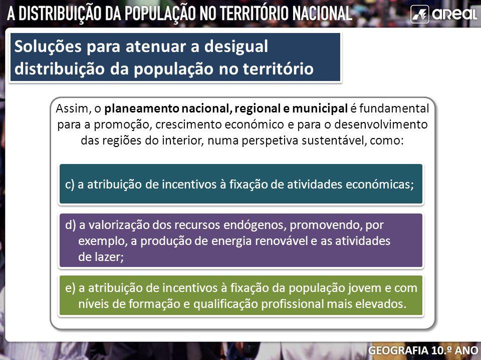 Soluções para atenuar a desigual distribuição da população no território