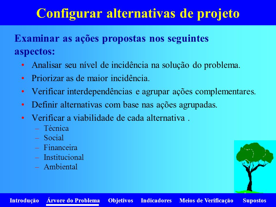 Configurar alternativas de projeto