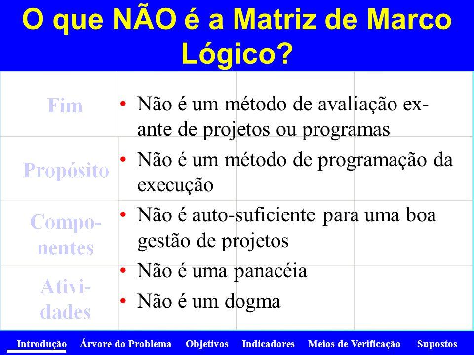 O que NÃO é a Matriz de Marco Lógico