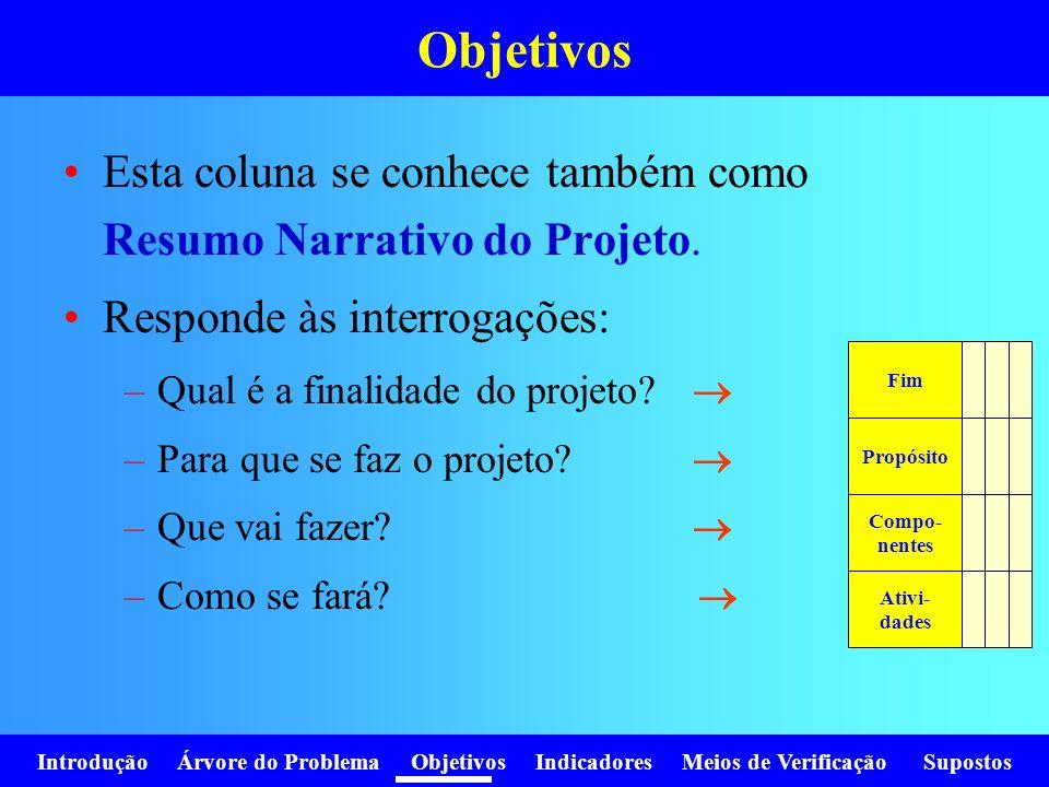 Objetivos Esta coluna se conhece também como Resumo Narrativo do Projeto. Responde às interrogações: