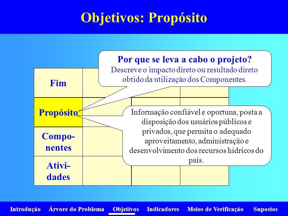 Objetivos: Propósito Por que se leva a cabo o projeto Fim Propósito