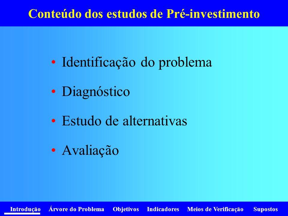 Conteúdo dos estudos de Pré-investimento