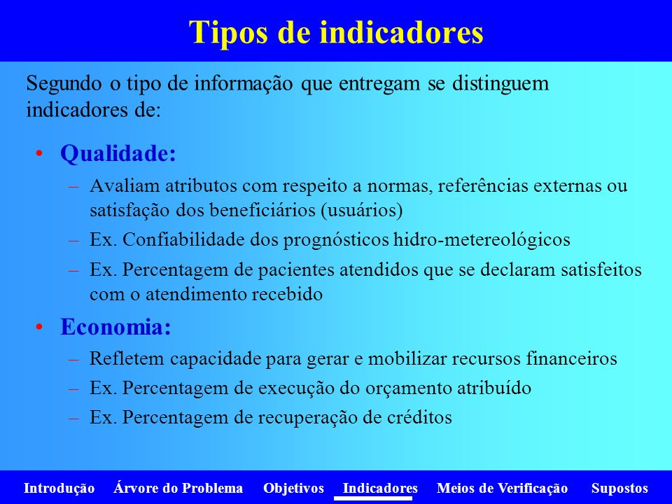 Tipos de indicadores Qualidade: Economia: