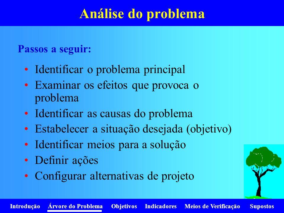 Análise do problema Identificar o problema principal