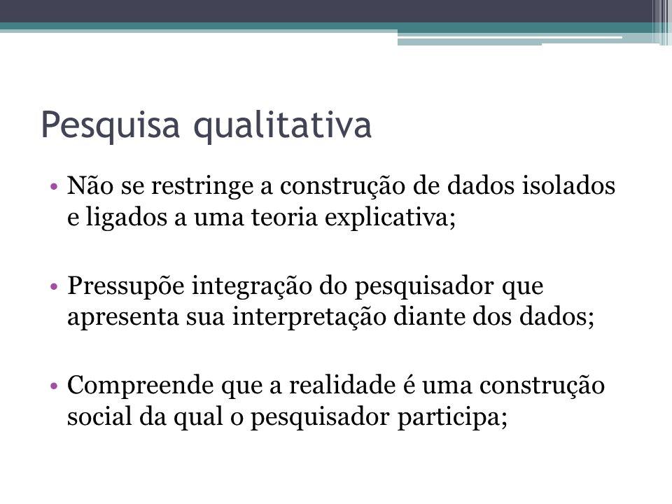 Pesquisa qualitativa Não se restringe a construção de dados isolados e ligados a uma teoria explicativa;