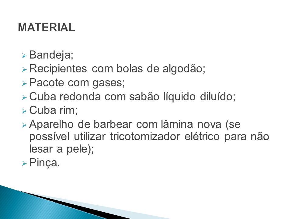 MATERIAL Bandeja; Recipientes com bolas de algodão; Pacote com gases; Cuba redonda com sabão líquido diluído;