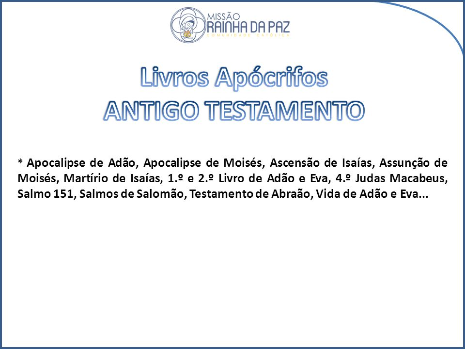 Livros Apócrifos ANTIGO TESTAMENTO