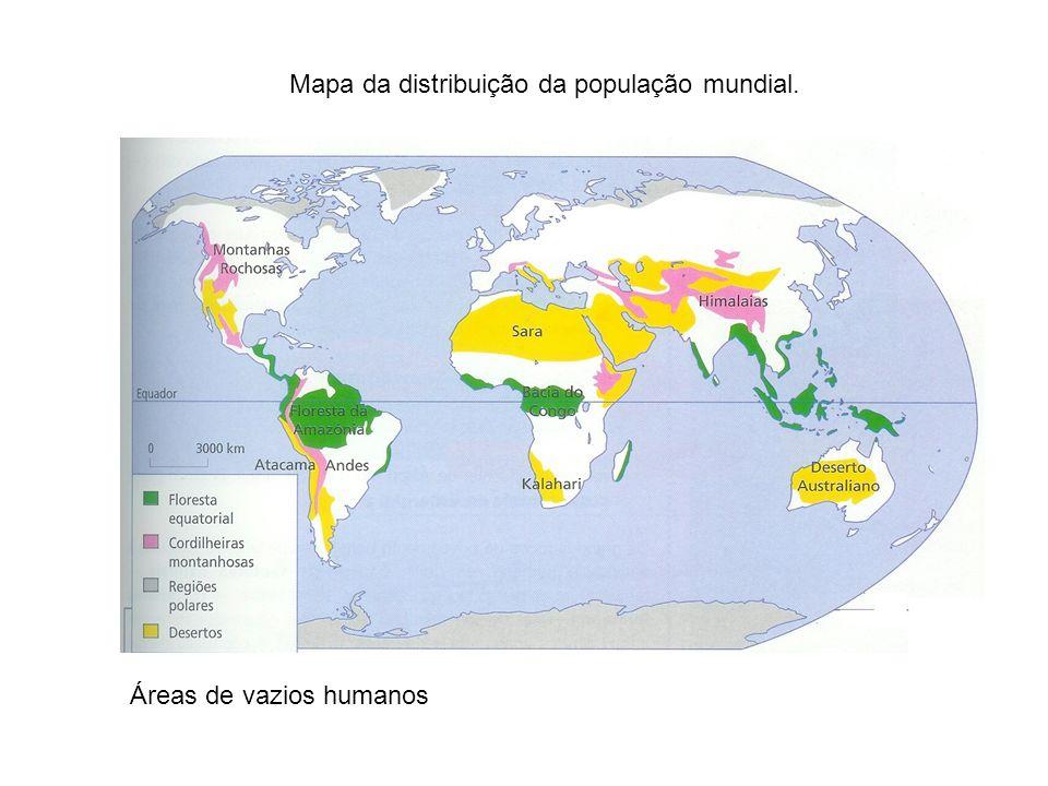 Mapa da distribuição da população mundial.
