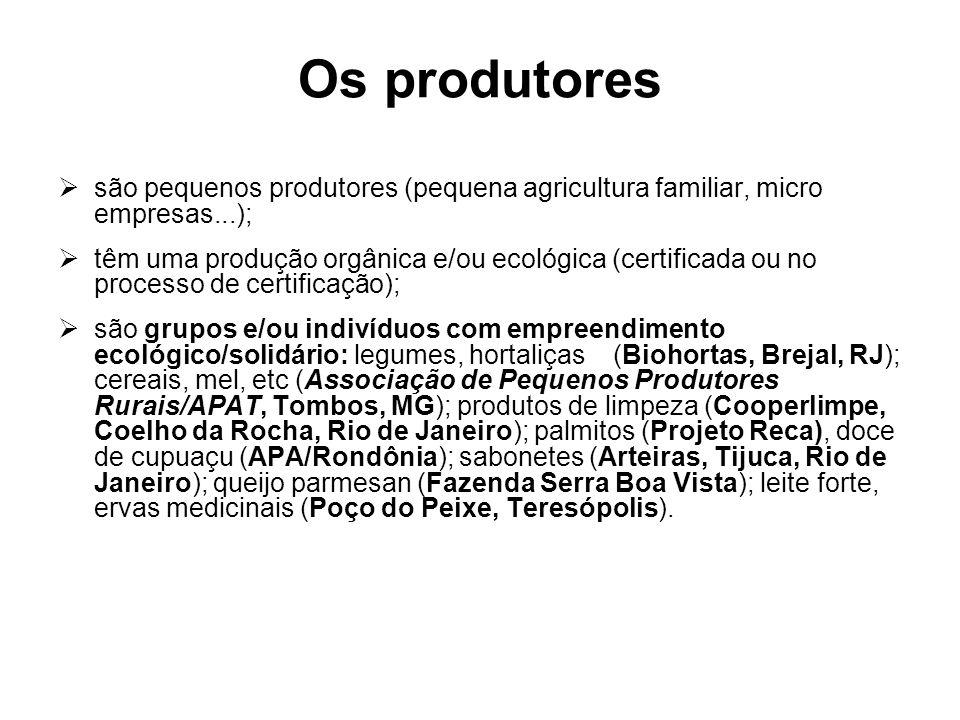 Os produtores são pequenos produtores (pequena agricultura familiar, micro empresas...);